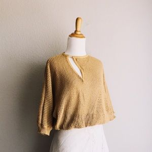 Vintage Asymmetrical Boxy Crochet Silk Sweater